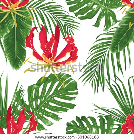 Red exotic flowers and tropical leaves. Seamless pattern. Vector background. - stock vector