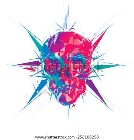 Red facet skull vector illustration - stock vector