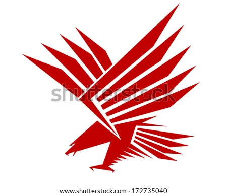 Red falcon bird logo for mascot, heraldic or tattoo design, isolated on white background - stock vector