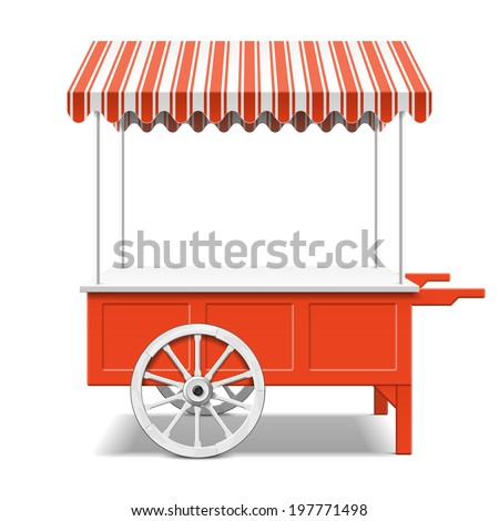 Red farmer's market cart. Vector. - stock vector