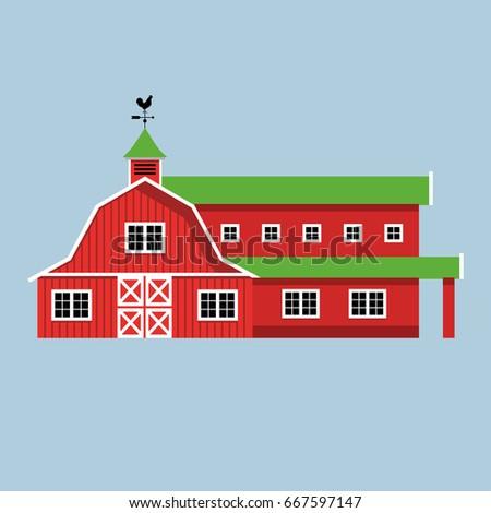Red Farmhouse Vector Illustration