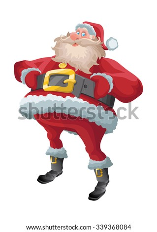 Red fat jolly santa claus isolated