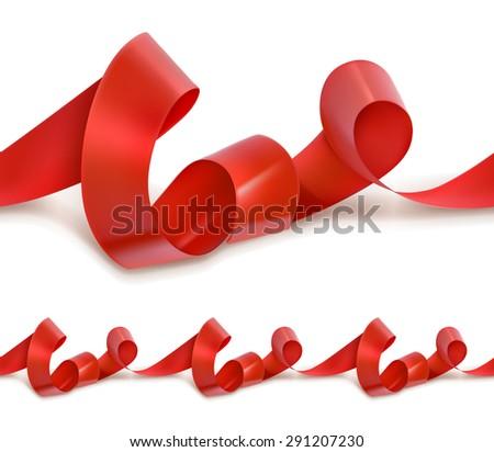 Red festive ribbon seamless vector - stock vector