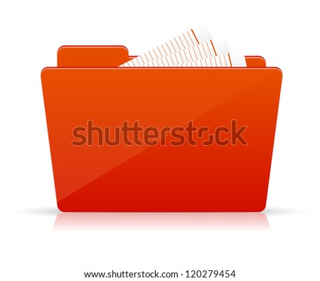 Red file folder icon - stock vector