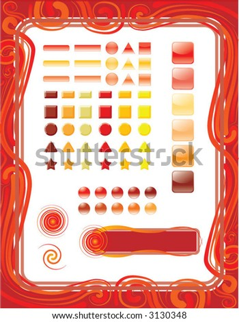 red/fire design element set - stock vector