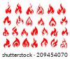 Red fire flat icons and pictograms set isolated on white background for danger concept or logo design - stock vector