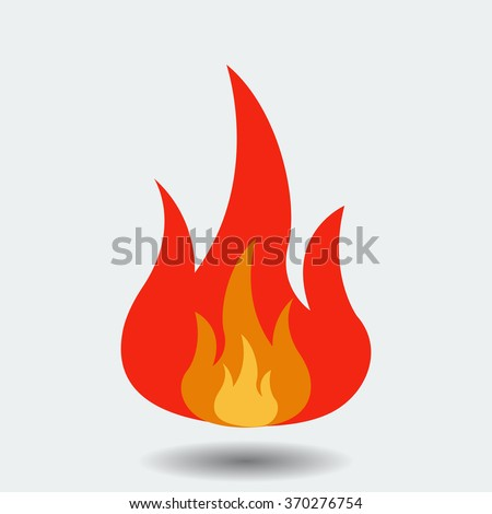 Red Fire icon isolated on background. Modern simple, flat blazing flame sign. Business, internet concept. Trendy vector torch symbol for website design, web button, mobile app. Logo illustration  - stock vector