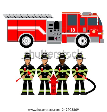 Red Fire Truck Fireman Uniform Firefighters Stock Vector