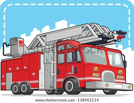 Red Fire Truck or Fire Engine - stock vector