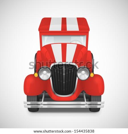 Red Fire Truck Retro Car Icon, Vector Illustration - stock vector