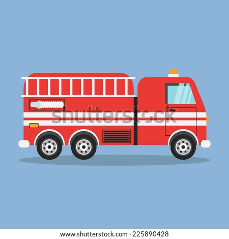 red fire truck with white stripes vector illustration - stock vector