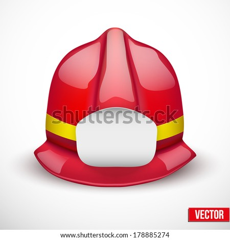 Red firefighter helmet vector illustration. Space for badge or emblem. Isolated and editable. - stock vector