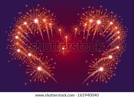Red fireworks in shape of the heart on the dark sky background  - stock vector
