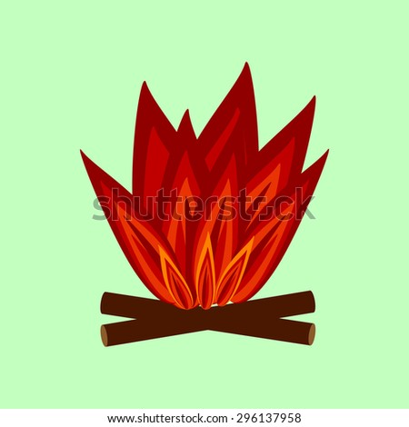 Red flames the fire and logs. Symbol sign icon