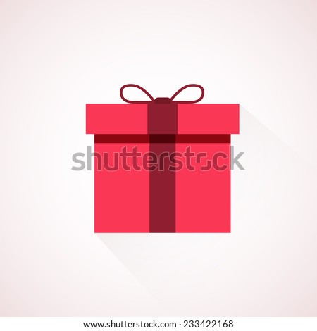 Red flat present box concept. Vector illustration - stock vector