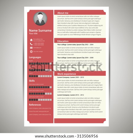 red flat resume cv template vector stock vector 313506956
