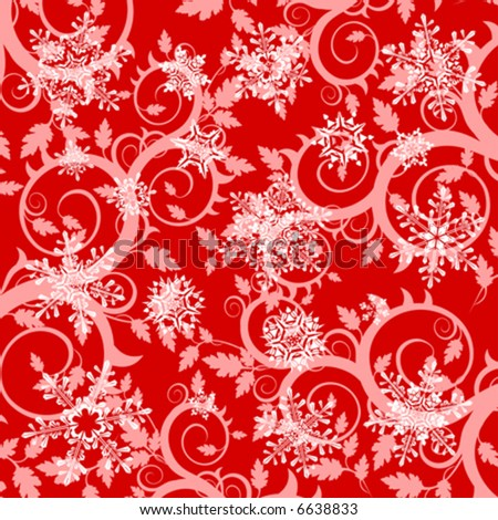 red floral background & snowflakes