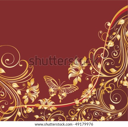 red floral background with golden butterflies