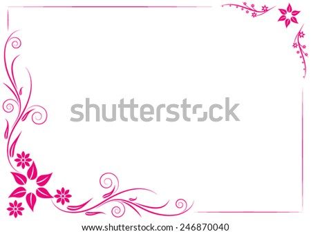Red floral ornament on a white background. Frame. Vector illustration - stock vector