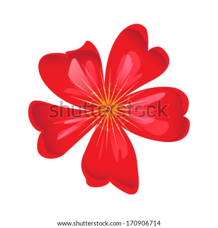 red flower - stock vector