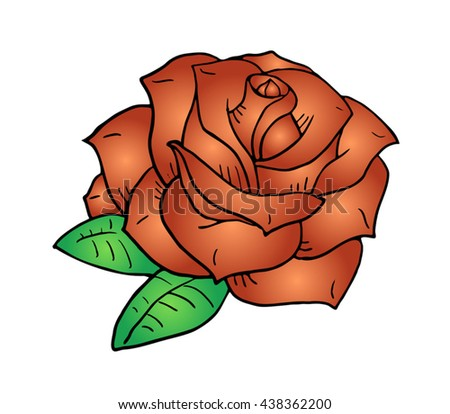 red flower draw - stock vector