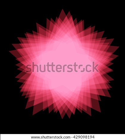 red flower star, abstract vector graphic illustration eps 10 on black background