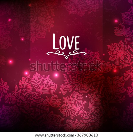 Red Flowers Border, With Gradient Mesh, Vector Illustration. Glow Marsala.Beautiful Valentine's day love card. I love you.  Love is in the air . - stock vector