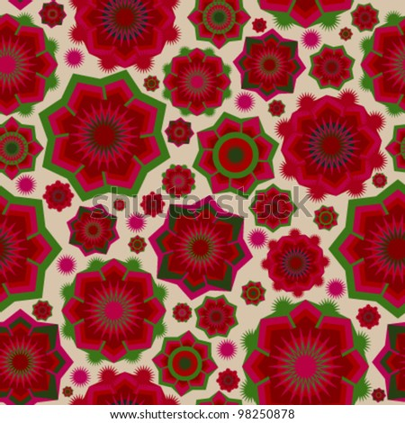 Red flowers seamless pattern - stock vector