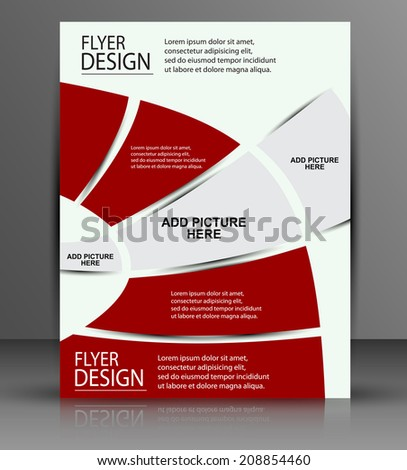 Red flyer - business cover - stock vector