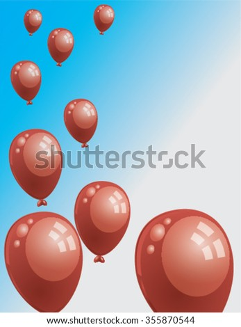 red flying balloons - stock vector