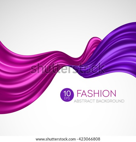 Red flying silk fabric. Fashion background. Vector illustration EPS10 - stock vector