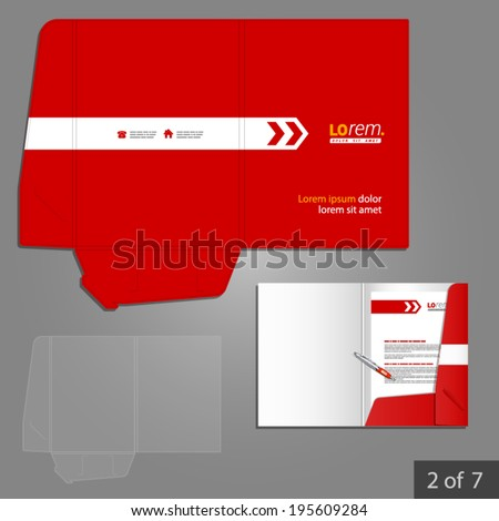 Red folder template design for company with white arrow. Element of stationery. - stock vector
