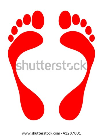 red footsteps - stock vector