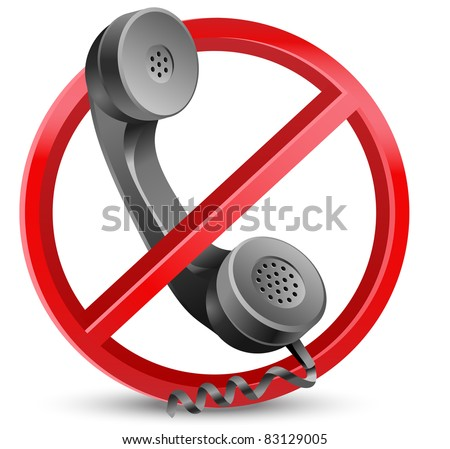 "red forbidden sign with phone as "" no cold calls allowed "" - stock vector"