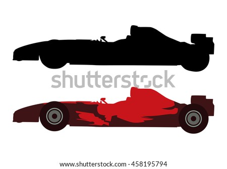 Formula Car Vector Silhouette Illustration Stock Vector