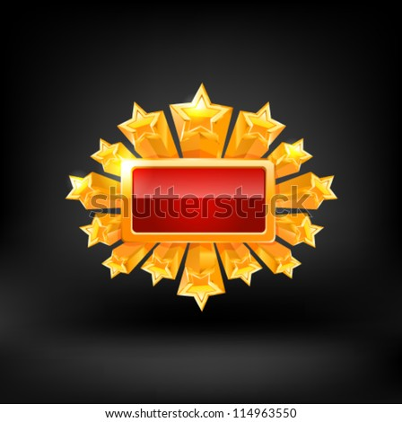 Red frame and gold stars. Vector - stock vector