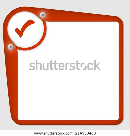 red frame for text with screws and check box - stock vector