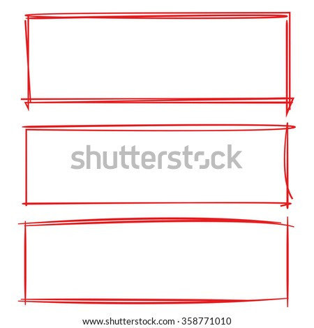 red frame set, grunge frames, hand drawn frames, rectangle frames - stock vector