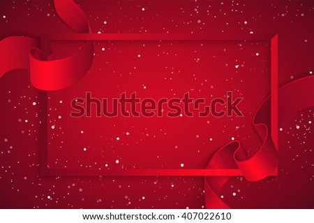 Red frame with realistic curving red ribbon. Background for greeting card and promotion. Vector illustration