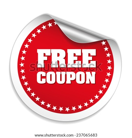 Red free coupon sticker with metallic peel on white background