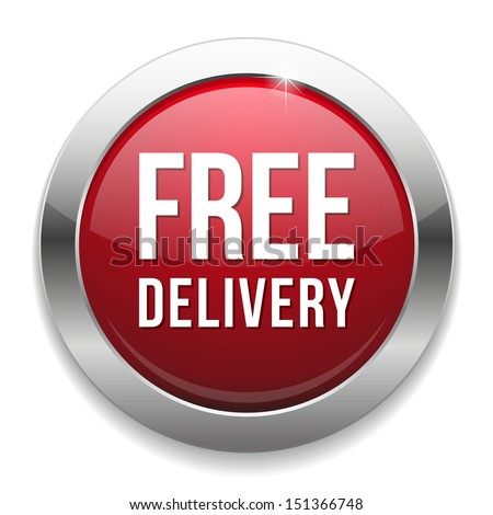 Red free delivery button - stock vector