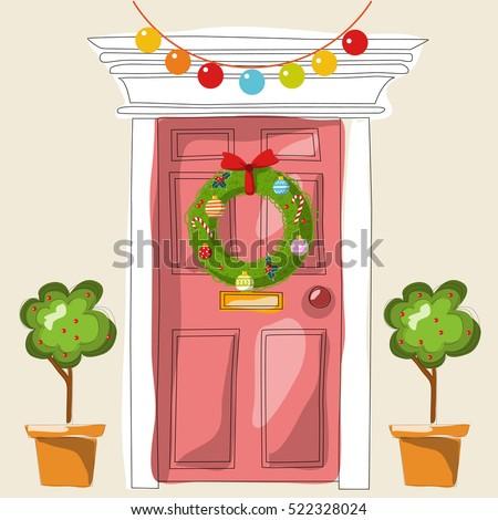 Christmas Front Door Clipart red door red wreath stock photos, royalty-free images & vectors