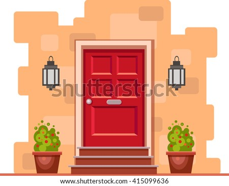 Red Front Door On The Yellow Brick Wall With Two Pots Plants And Lights