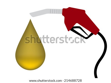 Red Fuel nozzle with yellow drop - stock vector