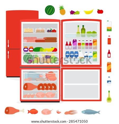Red full opened refrigerator with food vector illustration - stock vector
