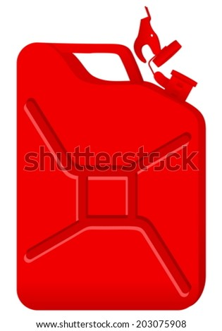 Red gas can on a white background.