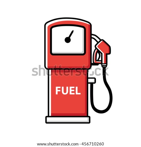 Red gasoline fuel pump icon isolated. - stock vector