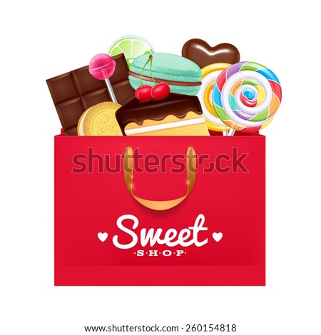 Red gift bag with sweets- macaron, cake, lollipop, candy, chocolate. Sweet present. - stock vector
