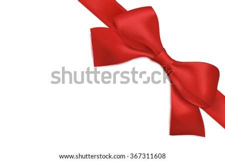 Red gift bow and ribbon isolated on white background. Vector - stock vector