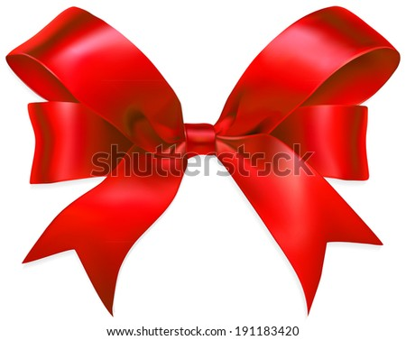 Red gift bow isolated on white background. Vector illustration - stock vector